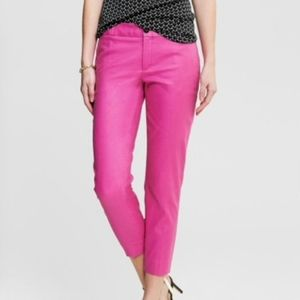 NEW YORK & CO HOT PINK CUFF HEM CAPRIS SZ L 14